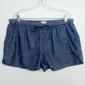 J. Crew Chambray Denim Cotton Shorts Elastic Large